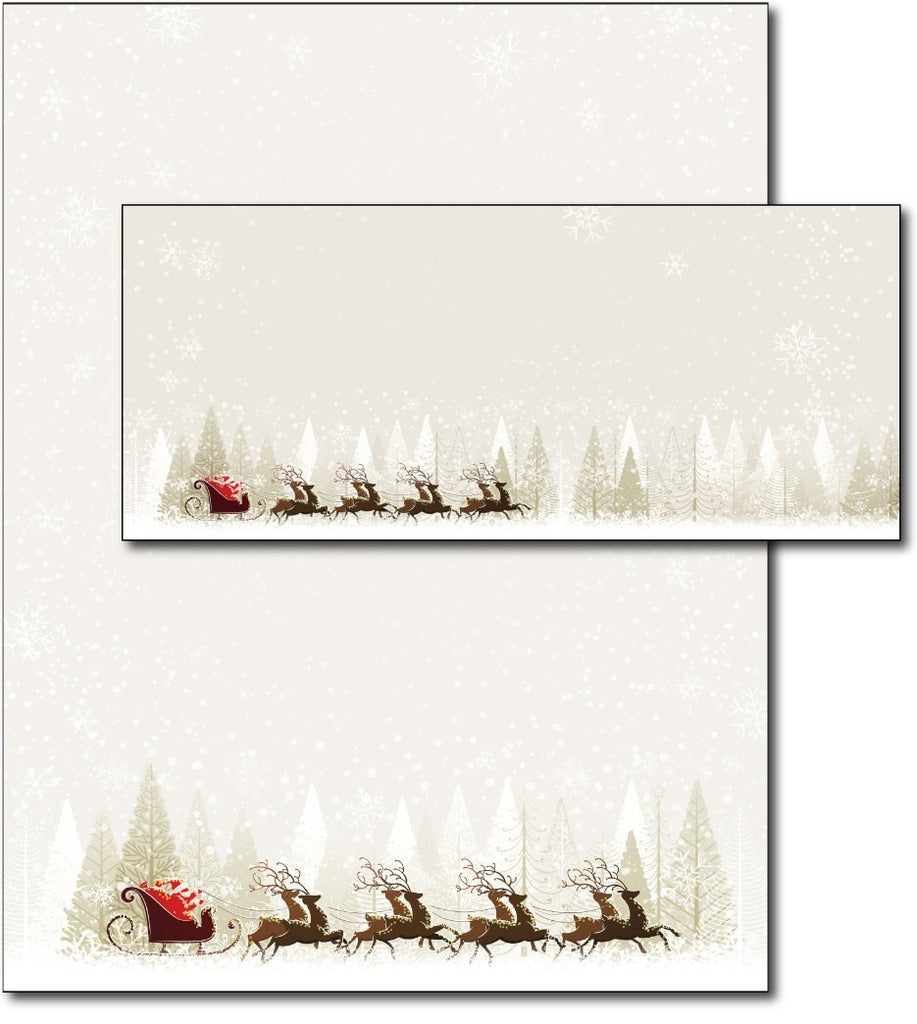 santa and reindeer christmas holiday xmas bulbs Letterhead & Envelopes -  40 Sets, compatible with inkjet and laser
