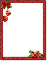 "Red Christmas Bulbs Stationery Paper, measure(8 1/2"" x 11""), compatible with inkjet and laser"