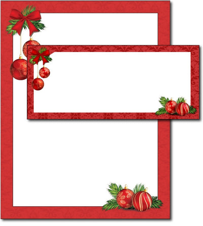 red christmas bulbs Letterhead & Envelopes -  40 Sets, compatible with inkjet and laser