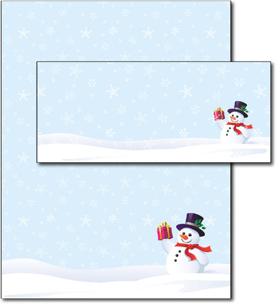 Christmas Stationery - Snowman & Gift - (With Envelopes)