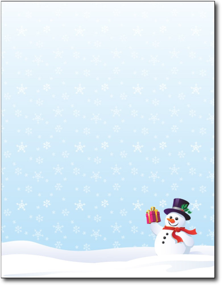 "Snowman Gift Holiday Stationery, measure(8 1/2"" x 11""), compatible with inkjet and laser"