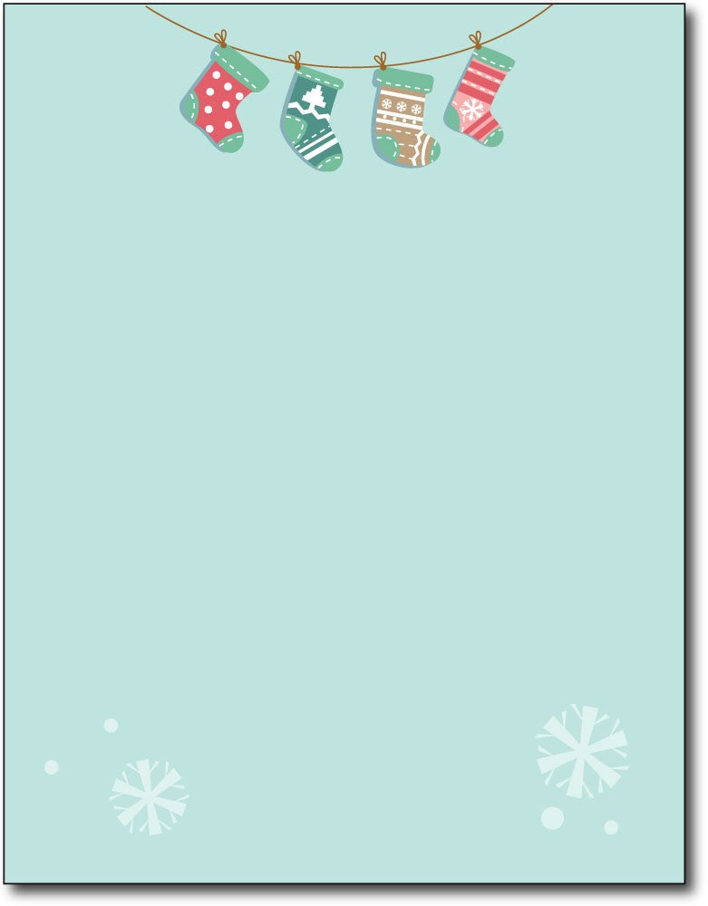 "Holiday Stockings Christmas stationery Paper letterhead , measures 8 1/2"" x 11"", compatible with inkjet and laser"