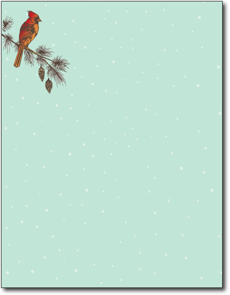 "Cardinal on branch Christmas stationery Paper letterhead , measures 8 1/2"" x 11"", compatible with inkjet and laser"
