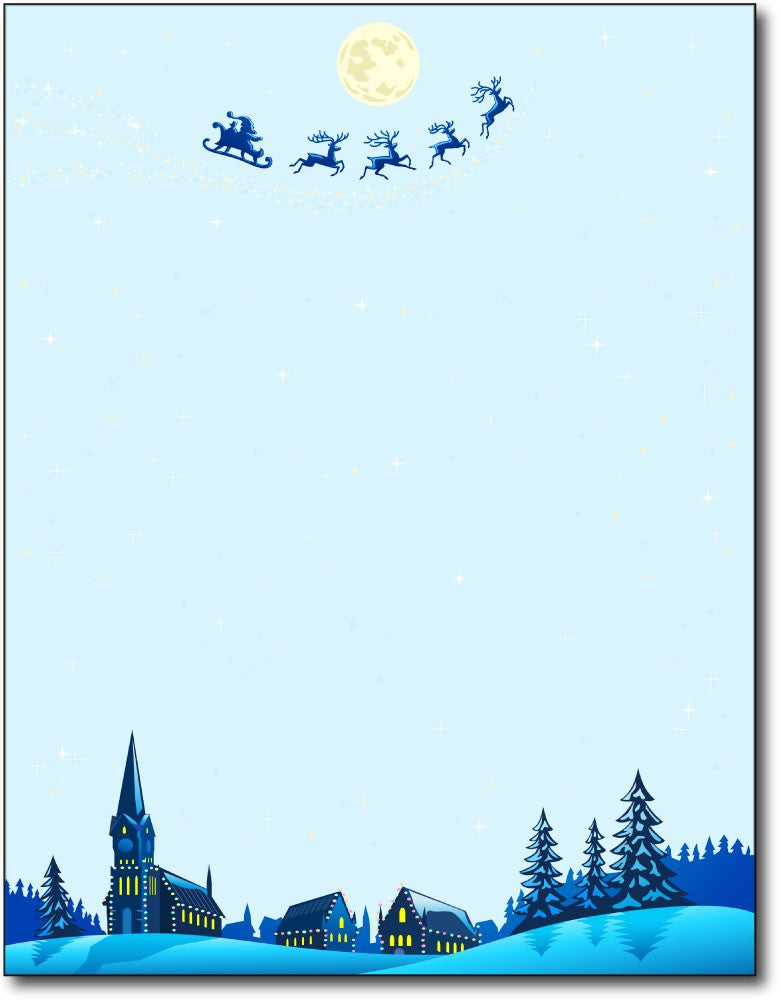 "christmas night Christmas stationery Paper letterhead , measures 8 1/2"" x 11"", compatible with inkjet and laser"