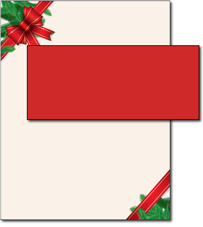 Red Christmas Bow Holiday Letterhead & Envelopes