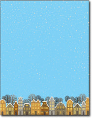 "winter night in the city christmas stationery Paper letterhead , measures 8 1/2"" x 11"", compatible with inkjet and laser"