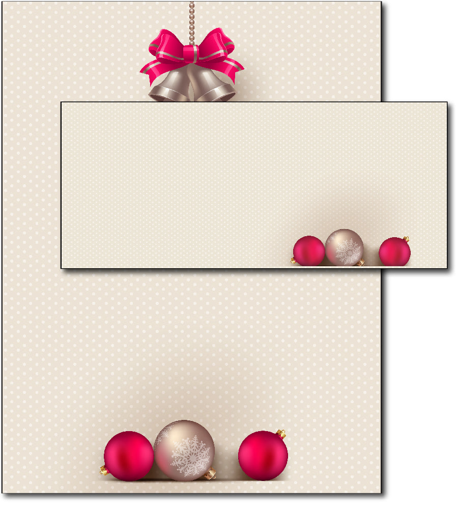 Christmas Stationery - Bells & Bulbs - (With Envelopes)