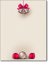 "bells & bulbs christmas stationery Paper letterhead , measures 8 1/2"" x 11"", compatible with inkjet and laser"