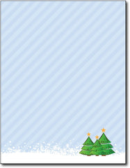 "3 trees christmas stationery Paper letterhead , measures 8 1/2"" x 11"", compatible with inkjet and laser"