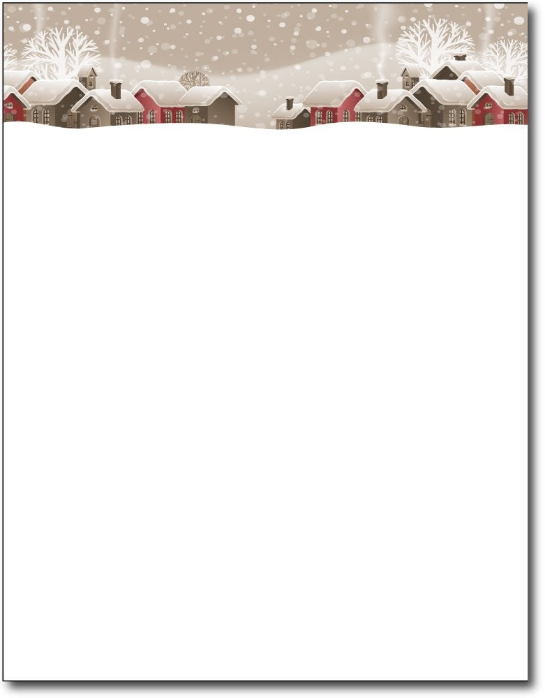 "snowy winter village christmas stationery Paper letterhead , measures 8 1/2"" x 11"", compatible with inkjet and laser"