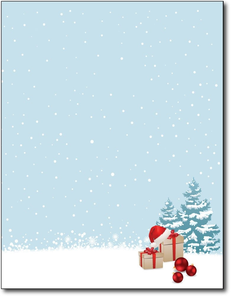 "christmas morning christmas stationery Paper letterhead , measures 8 1/2"" x 11"", compatible with inkjet and laser"