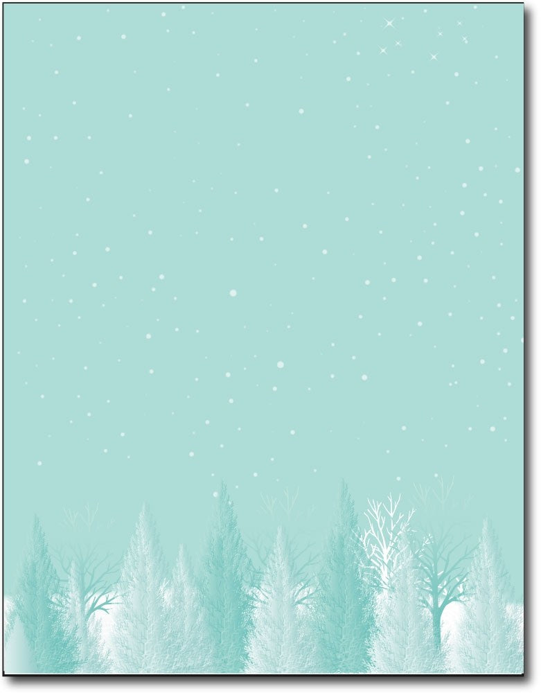 "aqua trees vintage  christmas stationery Paper letterhead , measures 8 1/2"" x 11"", compatible with inkjet and laser"