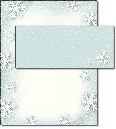 Paper Snowflakes Holiday Letterhead & Envelopes