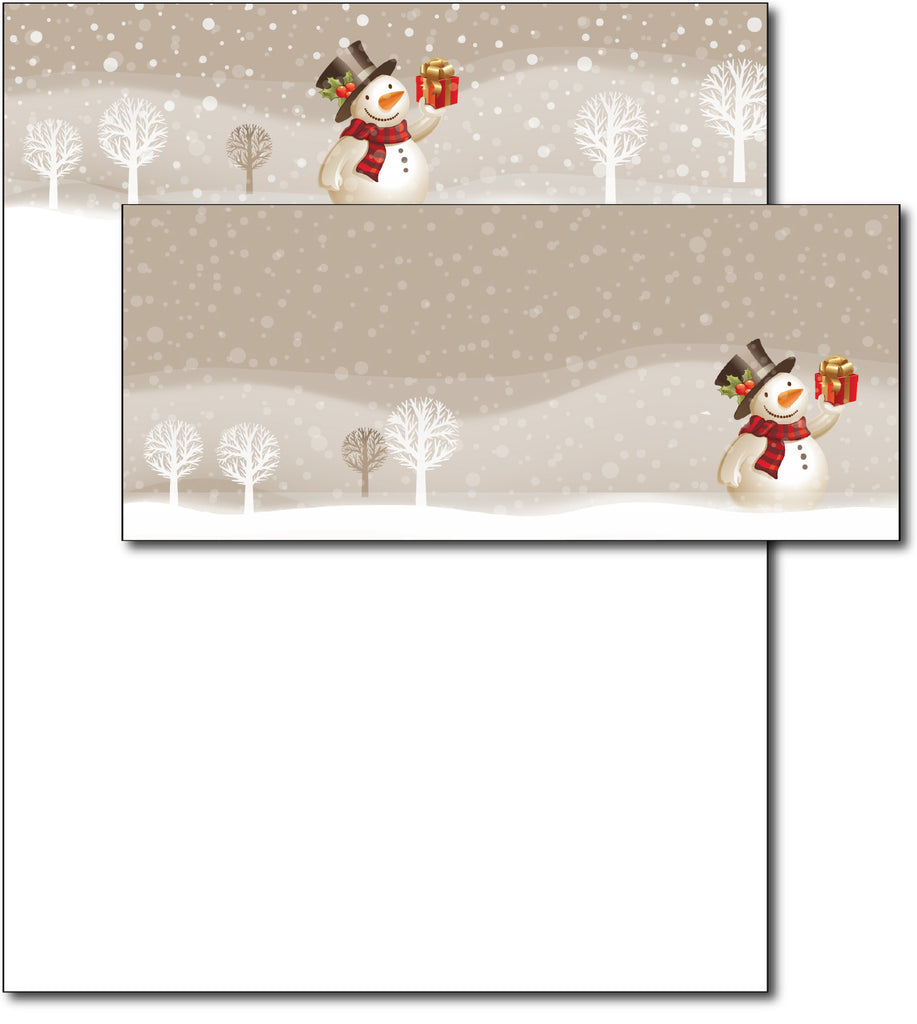 Snowman Present Holiday Letterhead & Envelopes