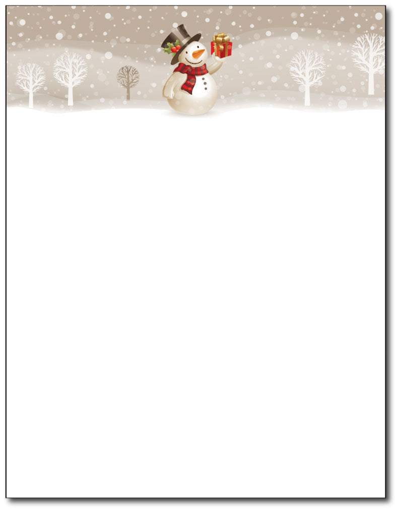 Snowman with Present Holiday Stationery