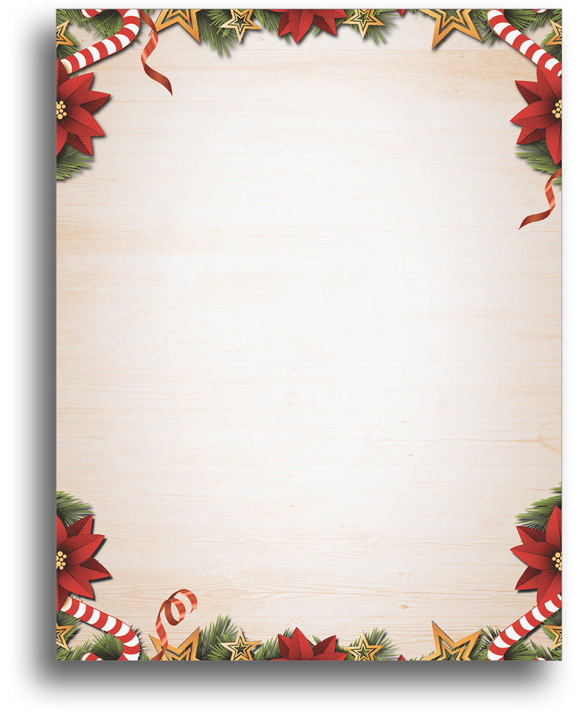 Candy Canes Poinsettias & Pine Stationery - 80 Sheets