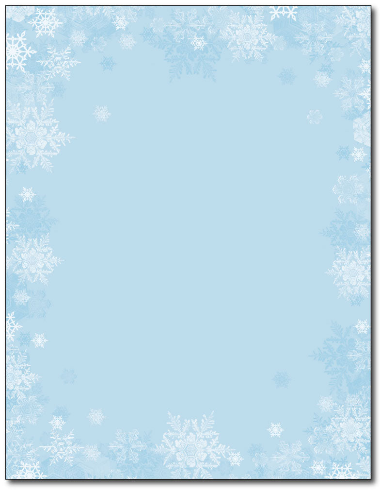Blue Snowflakes Holiday Stationery