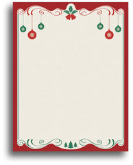 Holiday Letterhead - Red & Green Bulbs - 80 Sheets