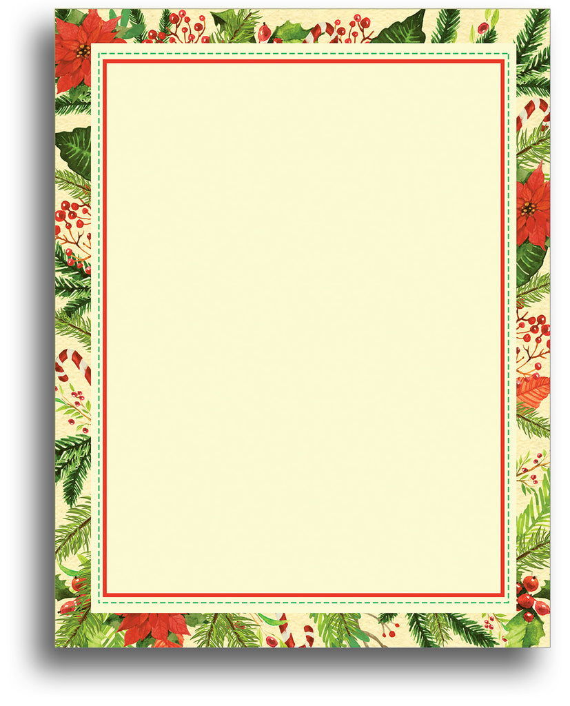 Christmas Stationery - Poinsettia Frame - 80 Sheets