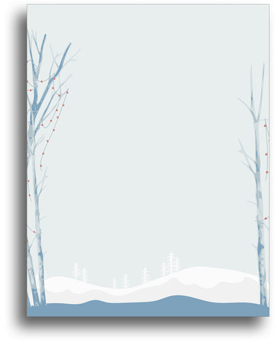 Holiday Letterhead - Blue Birch Trees - 80 Sheets