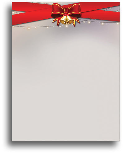 Holiday Stationery - Ribbons & Bells - 80 Sheets