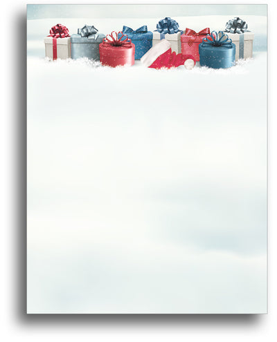 Holiday Stationery - Snowy Christmas Gifts - 80 Sheets