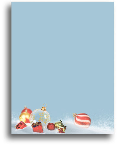 Christmas Stationery - Ornament in the Snow - 80 Sheets