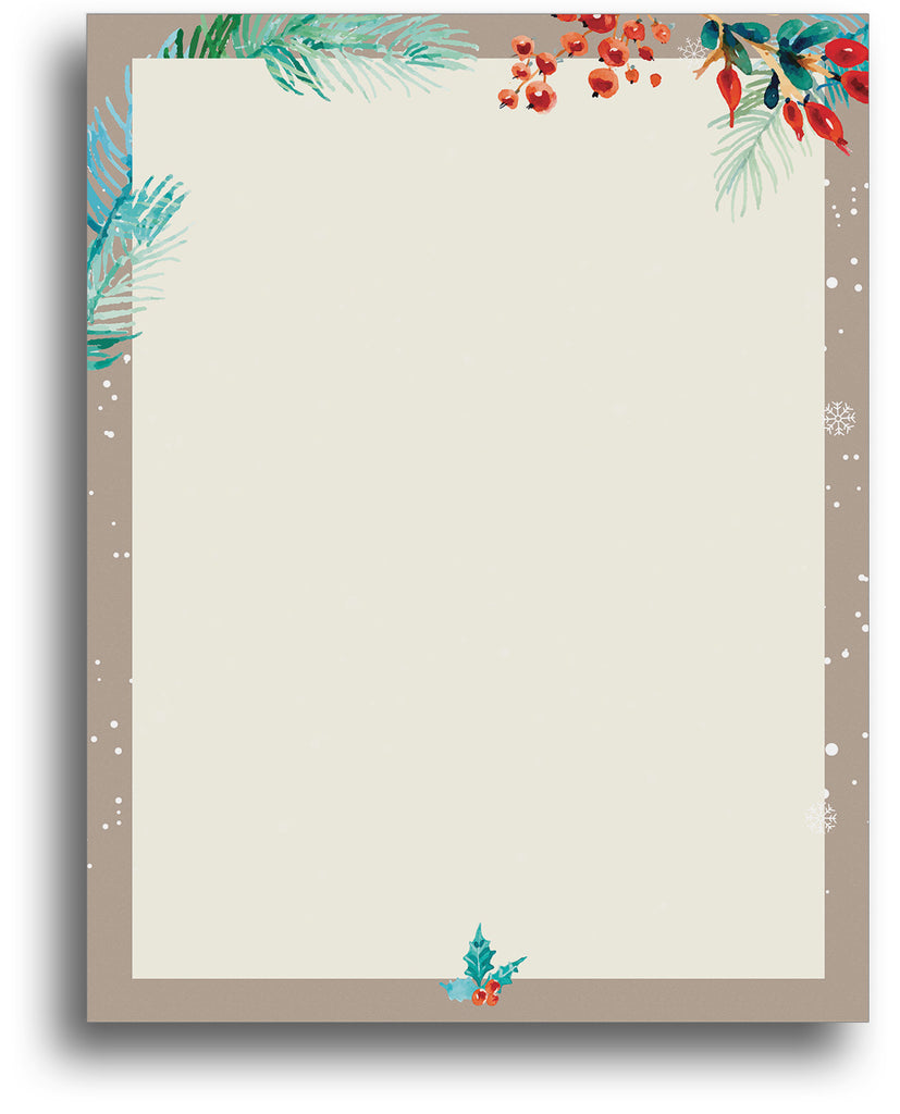 Christmas Letterhead - Watercolor Border - 80 Sheets