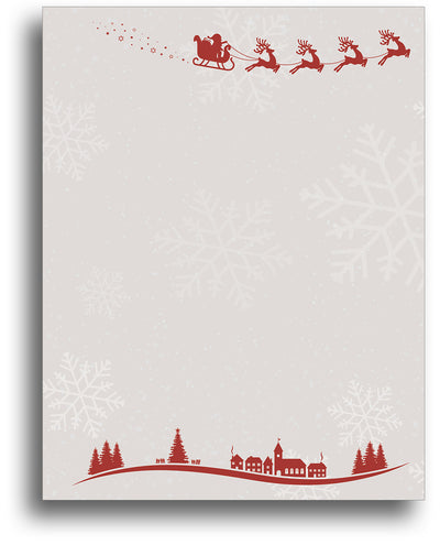 Christmas Stationery - Santa & Reindeer Over Town - 80 Sheets