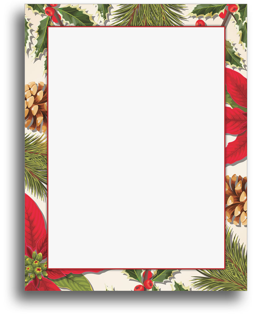 Poinsettia Border Holiday Stationery Paper