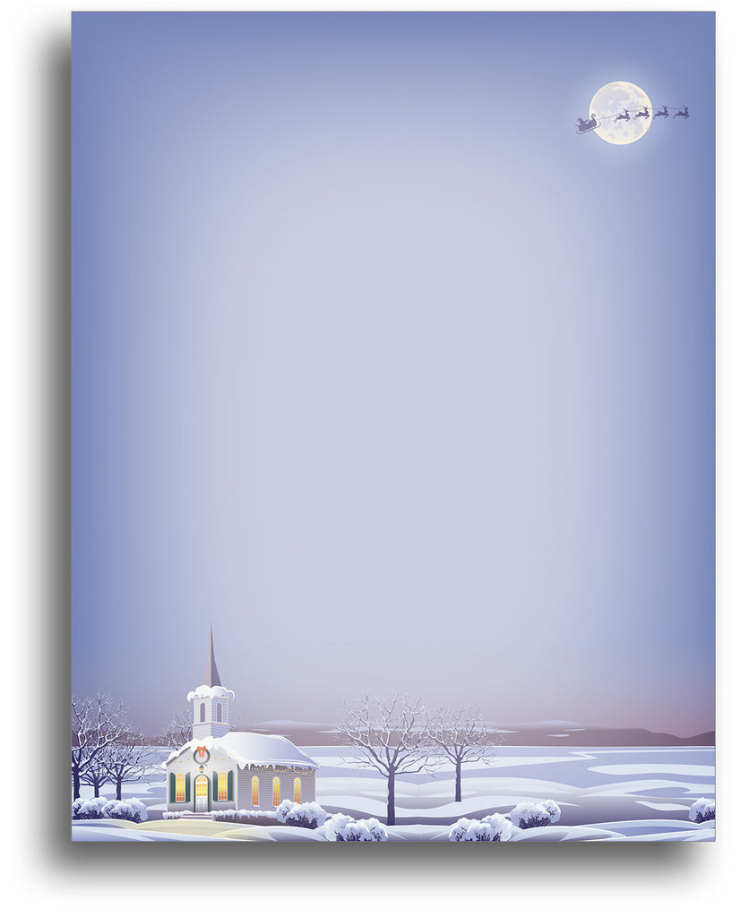Christmas Church Holiday Stationery Paper