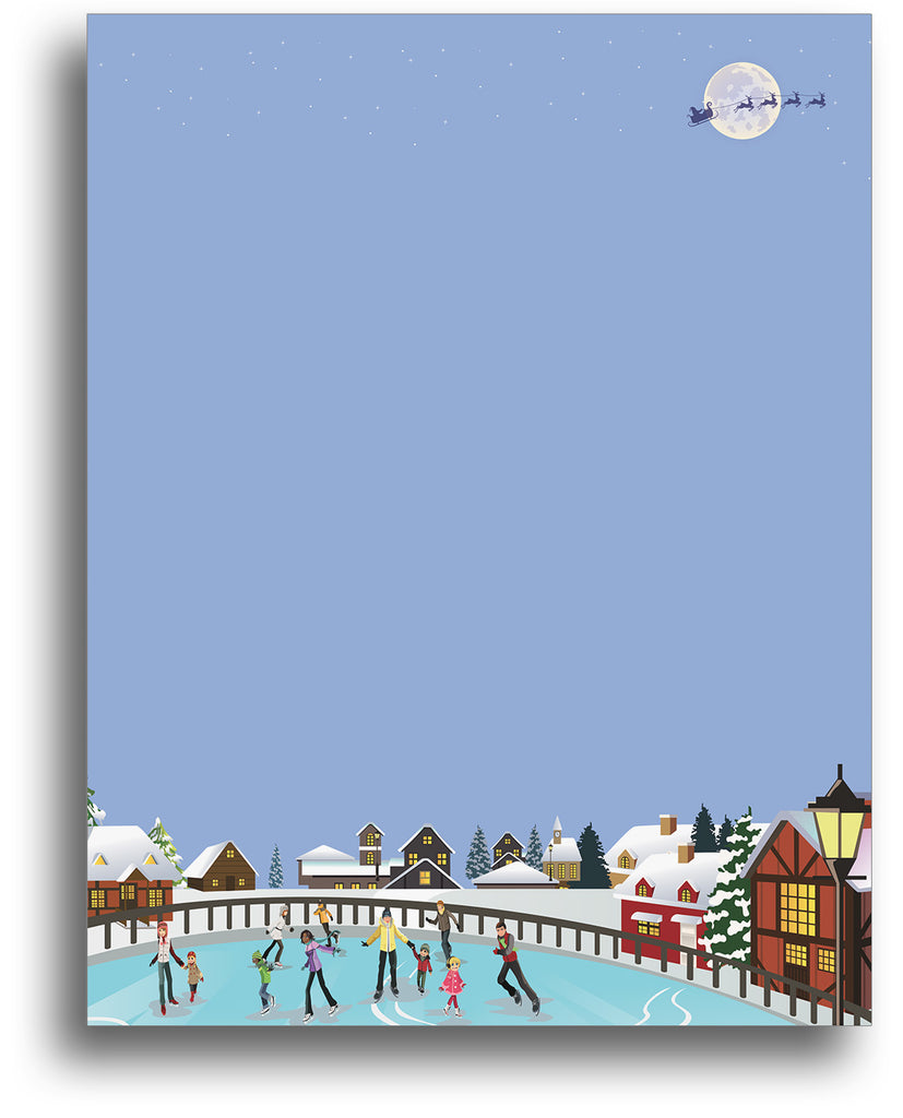 Skating in the Park Holiday Stationery Paper