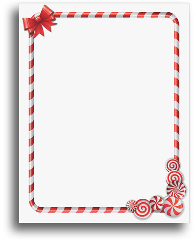 Candy Cane Border Holiday Stationery Paper - 80 Letterhead Sheets