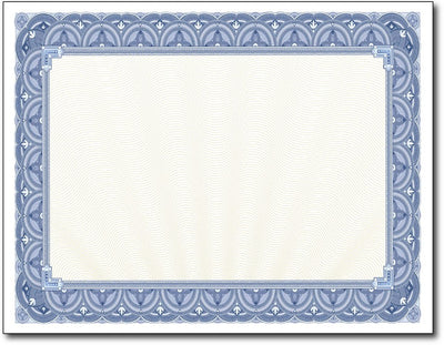 "28lb Blue Border Certificates measure 8 1/2"" x 11"", comaptible with inkjet, laser, and copier."