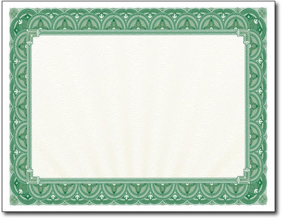 "28lb Green Border Certificates measure 8 1/2"" x 11"", comaptible with inkjet, laser, and copier."