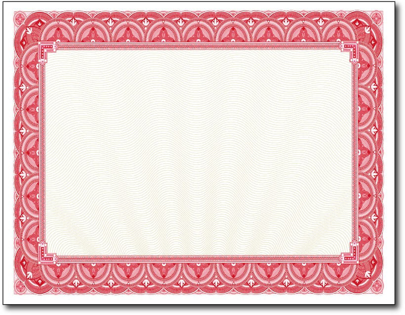 "28lb Red Border Certificates measure 8 1/2"" x 11"", comaptible with inkjet, laser, and copier."