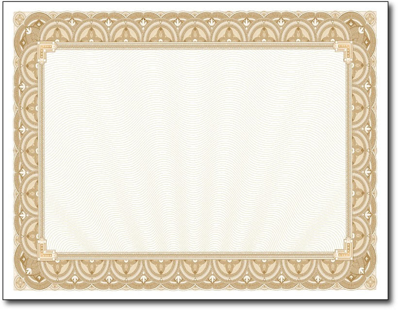 "28lb Gold Border Certificates measure 8 1/2"" x 11"", comaptible with inkjet, laser, and copier."