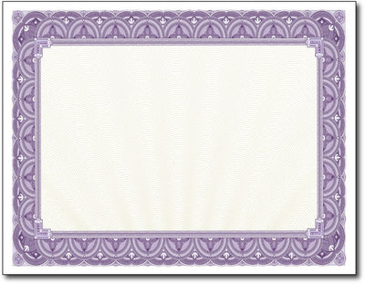 "28lb Purple Border Certificates measure 8 1/2"" x 11"", comaptible with inkjet, laser, and copier."