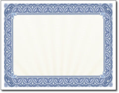 "65lb Blue Border Certificates measure 8 1/2"" x 11"", comaptible with inkjet, laser, and copier."