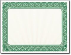 "65lb Green Border Certificates measure 8 1/2"" x 11"", comaptible with inkjet, laser, and copier."