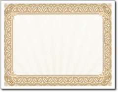 "65lb Gold Border Certificates measure 8 1/2"" x 11"", comaptible with inkjet, laser, and copier."
