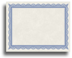 '- Blank Certificates - Parchment Design With Blue Border
