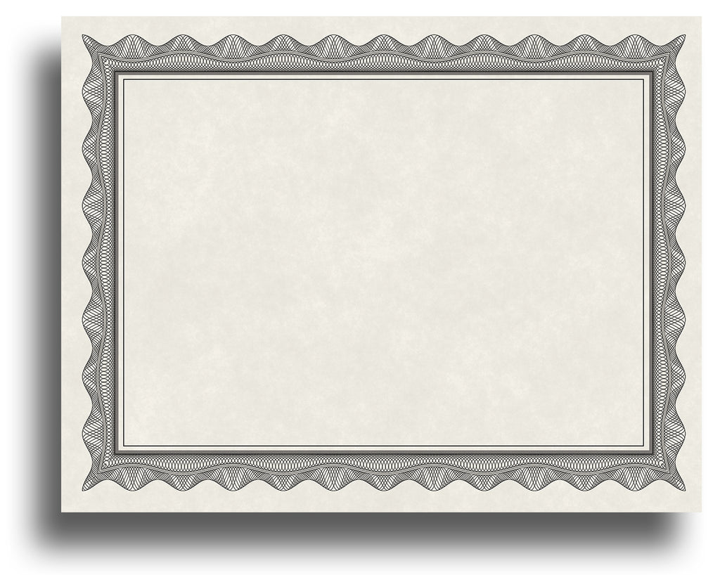 '- Blank Certificates - Parchment Design With Black Border