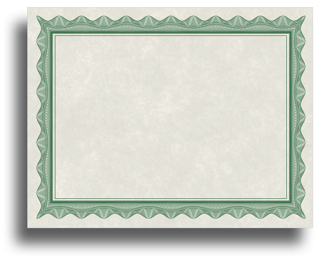 Blank Certificates - 80lb Text | Green Border (Parchment)