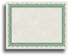 '- Blank Certificates - Parchment Design With Green Border