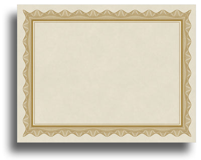 - Blank Certificates - Parchment Design With Gold Border