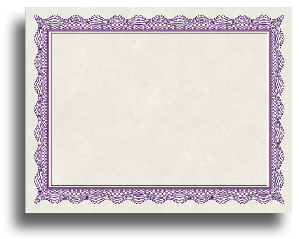 - Blank Certificates - Parchment Design With Purple Border