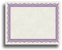 '- Blank Certificates - Parchment Design With Purple Border