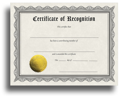 - Recognition - Award Certificate With Gold Foil Seal