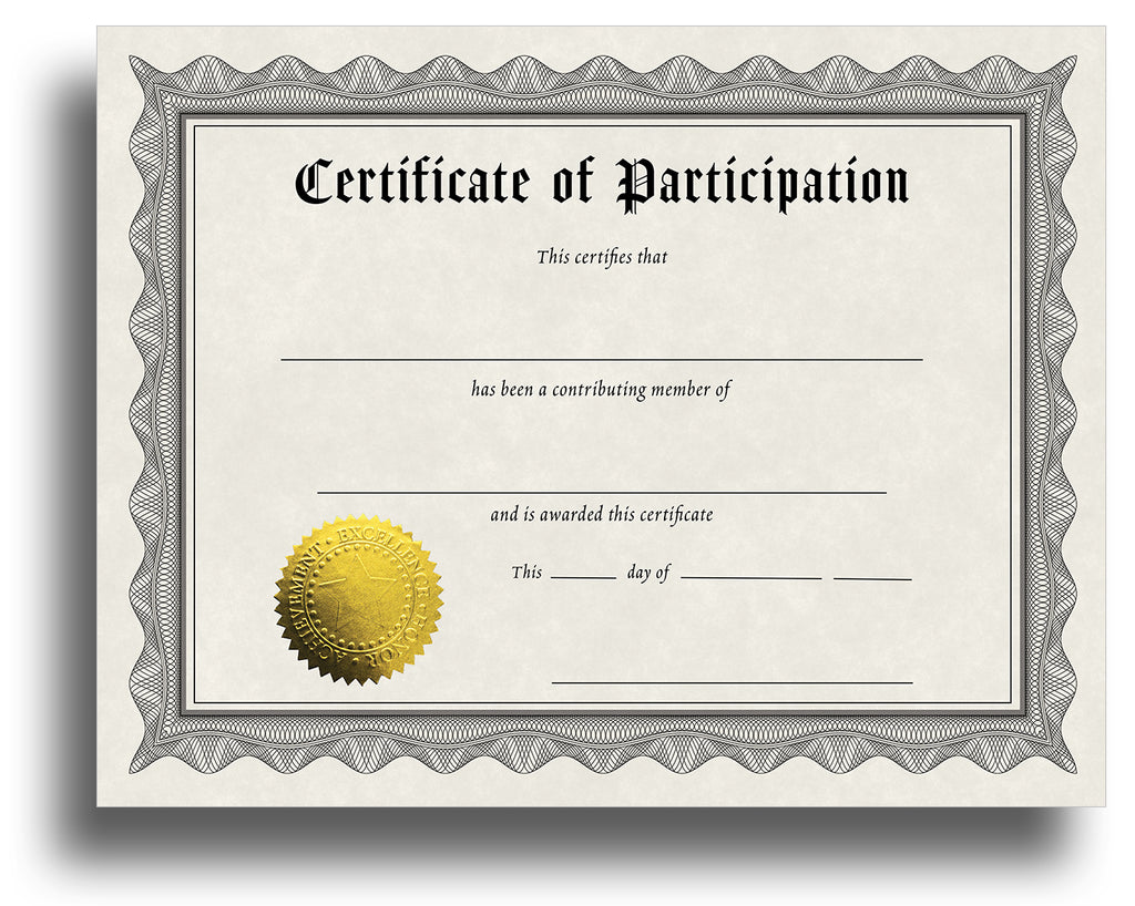 - Participation - Award Certificate With Gold Foil Seal
